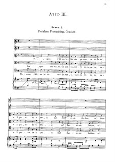 Амфипарнас: Act III, for voices, choir and piano by Орацио Векки