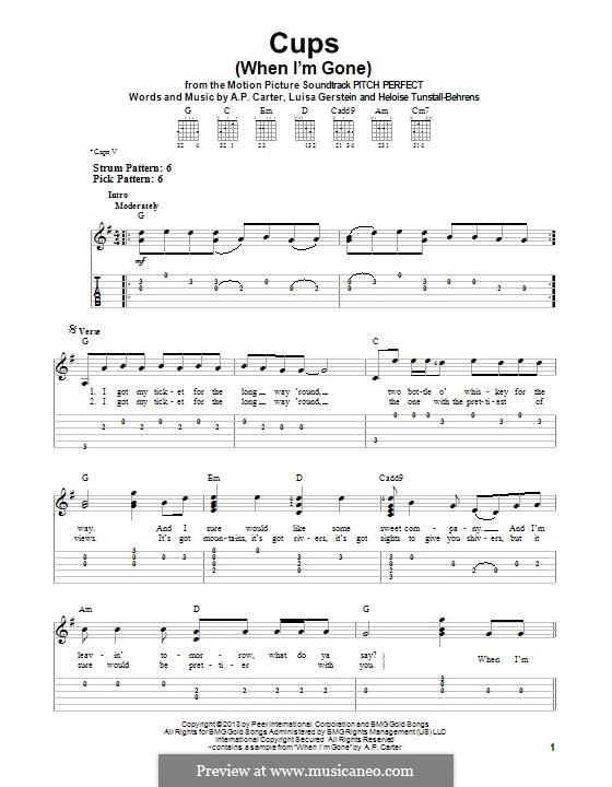 Cups (When I'm Gone): Для гитары с табулатурой by A.P. Carter, Luisa Gerstein, Heloise Tunstall-Behrens