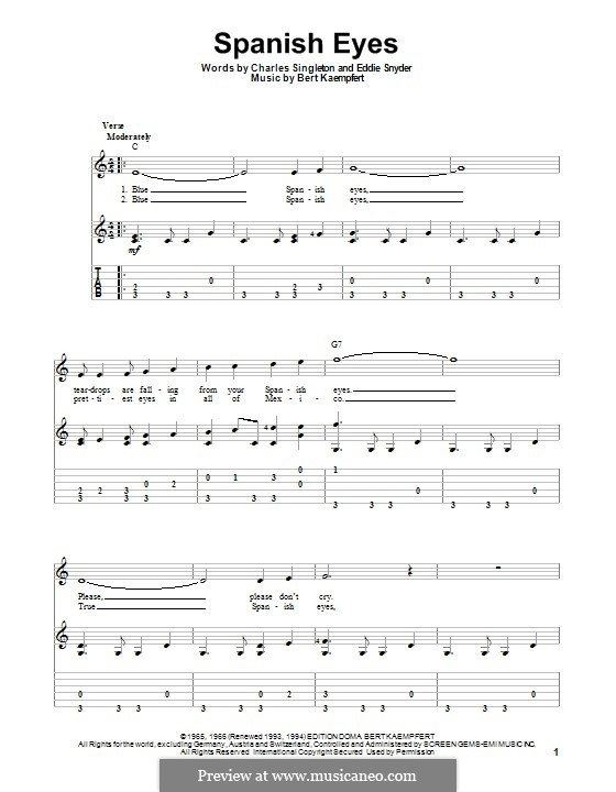 Spanish Eyes (Al Martino): Для гитары с табулатурой by Bert Kaempfert, Charles Singleton, Eddie Snyder