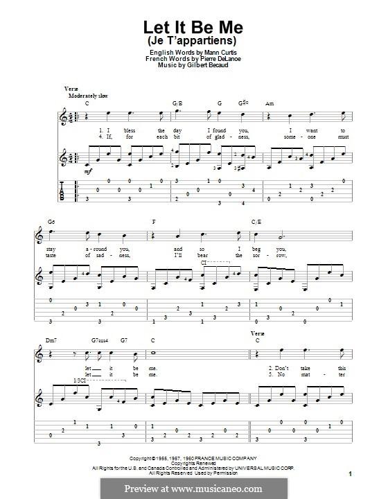 Let It Be Me (Je T'appartiens): Для гитары с табулатурой by Gilbert Becaud, Manny Kurtz, Pierre Delanoe
