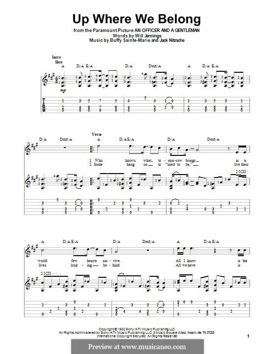 Up Where We Belong (Joe Cocker and Jennifer Warnes): Для гитары с табулатурой by Buffy Sainte-Marie, Jack Nitzsche, Will Jennings