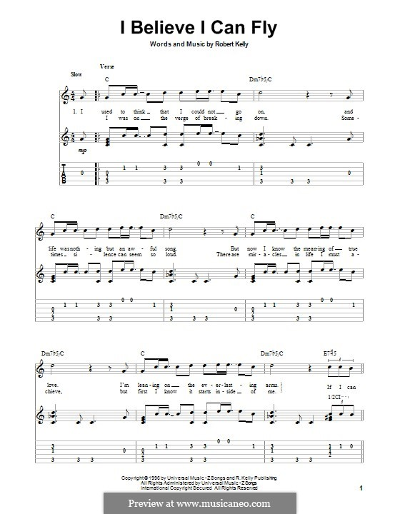 I Believe I Can Fly: Для гитары с табулатурой by Robert Kelly
