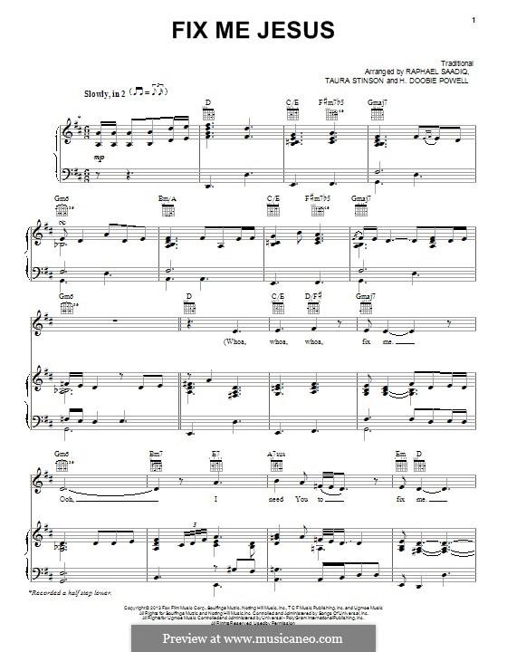 Fix Me Jesus: Для голоса и фортепиано (или гитары) by folklore