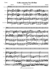 Концерт для виолончели с оркестром No.4 ре мажор, Hob.VIIb/4: Партитура и партии by Йозеф Гайдн