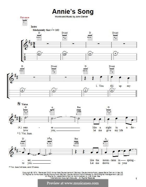 Annie's Song: Для укулеле by John Denver