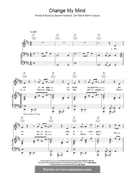 Change My Mind (One Direction): Для голоса и фортепиано (или гитары) by Carl Falk, Rami Yacoub, Savan Kotecha