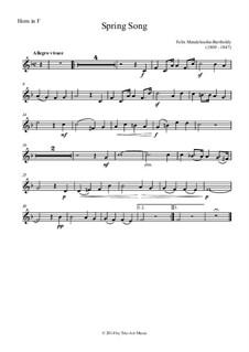 Песни без слов, Op.62: No.6 Spring Song, for horn and piano by Феликс Мендельсон-Бартольди