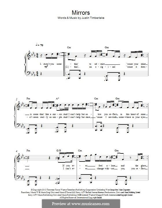 Mirrors: Для фортепиано by Garland Mosley, James Fauntleroy II, Jerome Harmon, Justin Timberlake, Timbaland, Chris Godbey