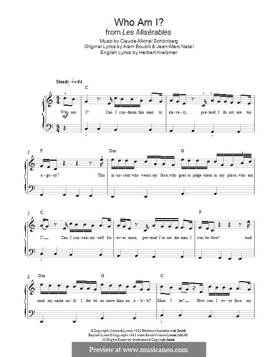 Who am I?: Для фортепиано by Claude-Michel Schönberg