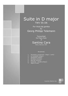 Suite in D Major, for piano, TWV 55:D6: Для одного исполнителя by Георг Филипп Телеманн