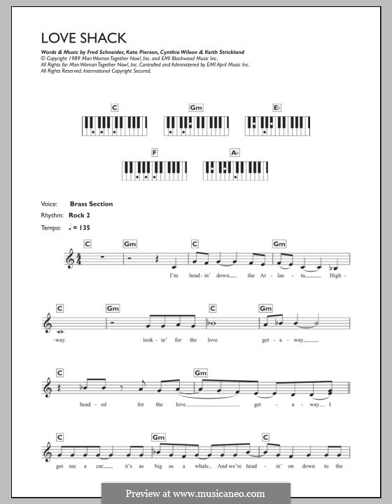 Love Shack (The B-52's): Для клавишного инструмента by Cynthia L. Wilson, Frederick W. Schneider, Kate Pierson, Keith J. Strickland