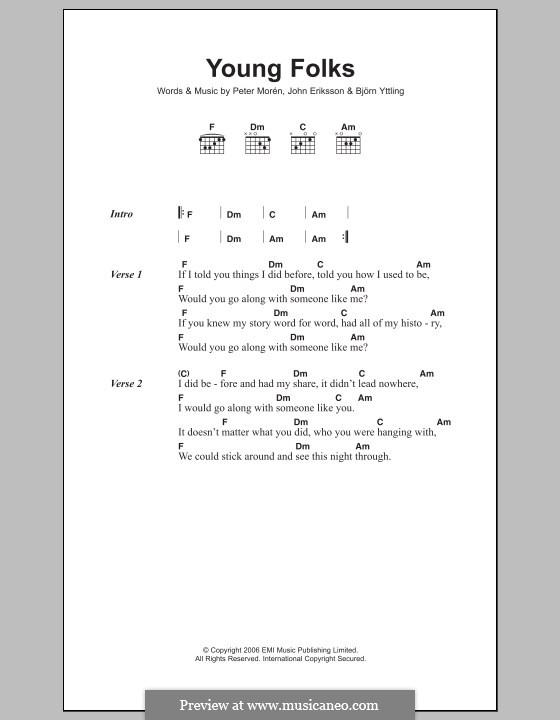 Young Folks (Peter, Bjorn & John): Текст и аккорды by Bjorn Yttling, John Eriksson, Peter Moren