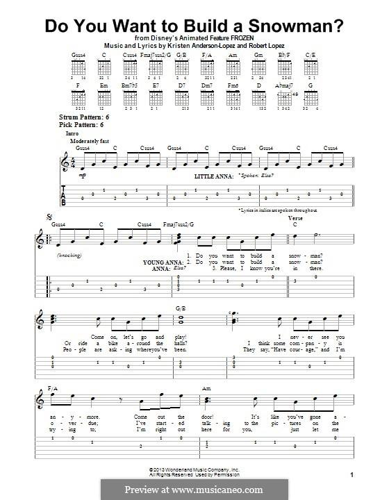 Do You Want to Build a Snowman? (Kristen Bell): Для гитары с табулатурой by Robert Lopez, Kristen Anderson-Lopez