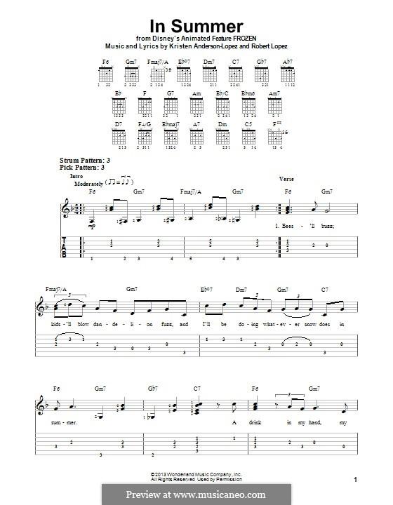 In Summer: Для гитары с табулатурой by Robert Lopez, Kristen Anderson-Lopez
