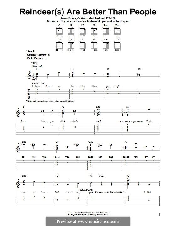Reindeer(s) Are Better Than People (from Frozen: The Broadway Musical): Для гитары с табулатурой by Robert Lopez, Kristen Anderson-Lopez