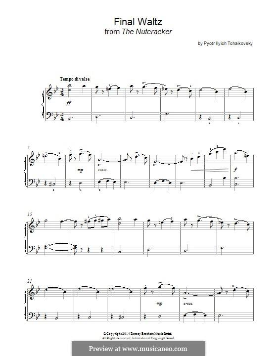 No.15 Финальный вальс и апофеоз: Аранжировка для фортепиано (фрагмент) by Петр Чайковский