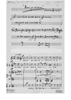 Слушайте, дети (Притч. 4:1,7,8) для шестиголосного двойного женского хора: Первая редакция by Эрнст Леви