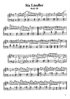 Шесть лендлеров для двух скрипок и виолончели, WoO 15: Весь сборник, для фортепиано by Людвиг ван Бетховен