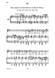 Пятнадцать романсов, Op.33: No.11 How Quickly Vanish Light and Radiance by Иоганнес Брамс