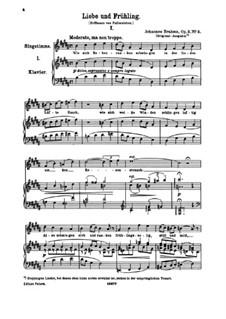 Шесть песен, Op.3: No.2 Liebe und Frühling (Love and Spring) by Иоганнес Брамс