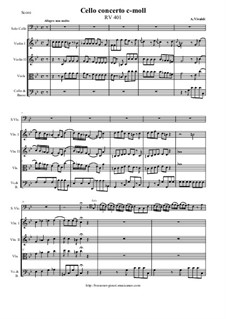 Concerto for Cello and Strings in C Minor, RV 401: Score and all parts by Антонио Вивальди