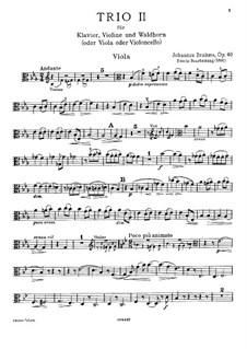 Трио для валторны (или виолончели), скрипки и фортепиано, Op.40: Партия альта (Вторая версия) by Иоганнес Брамс