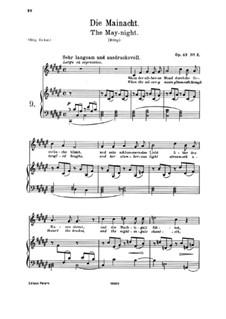 Четыре песни, Op.43: No.2 The May Night by Иоганнес Брамс