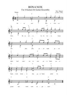 Bona nox. Canon for Four Voices, K.561: For guitars or mandolin orchestra by Вольфганг Амадей Моцарт