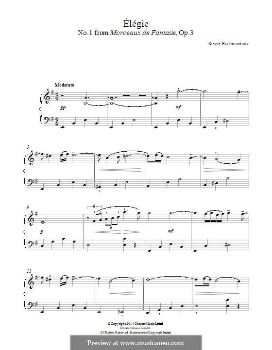Фантастические пьесы, Op.3: No.1 Élégie by Сергей Рахманинов