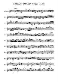 Соната для фортепиано No.13 си-бемоль мажор, K.333: Для кларнета by Вольфганг Амадей Моцарт