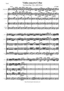 La Cetra (The Lyre). Twelve Violin Concertos, Op.9: No.1 Concerto in C Major – score and all parts, RV 181a by Антонио Вивальди