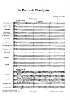 Le festin de l'araignée (The Spider's Feast), Op.17: Партитура by Альбер Руссель