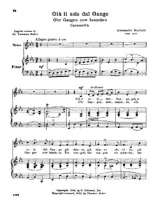 Gia' il sole dal Gange: Low voice in E Flat Major by Алессандро Скарлатти