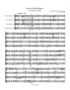 God of Our Fathers: For sax quartet SATB by Джордж Уильям Уоррен
