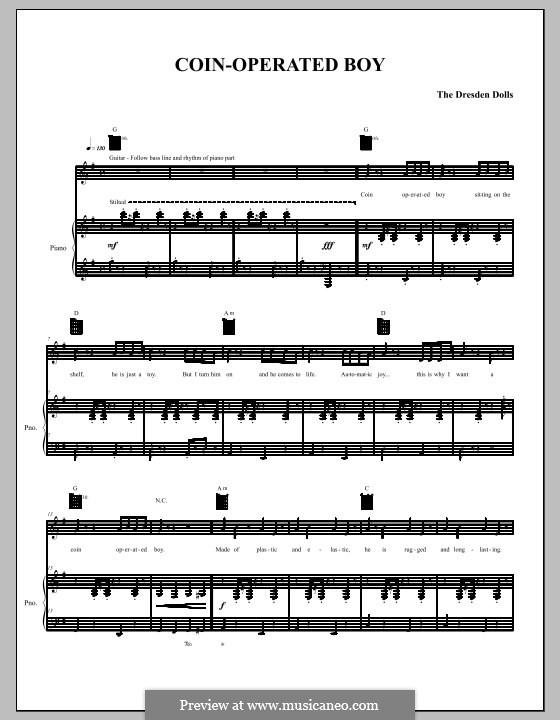 Coin-Operated Boy (The Dresden Dolls): Для голоса и фортепиано (или гитары) by Amanda Palmer