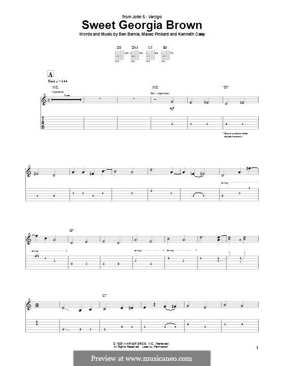 Sweet Georgia Brown: Для гитары с табулатурой by Maceo Pinkard, Kenneth Casey