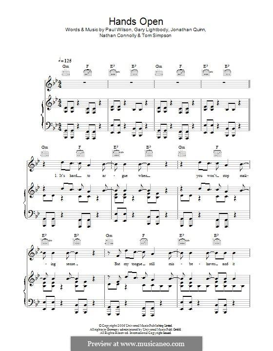 Hands Open (Snow Patrol): Для голоса и фортепиано (или гитары) by Gary Lightbody, Jonathan Quinn, Paul Wilson