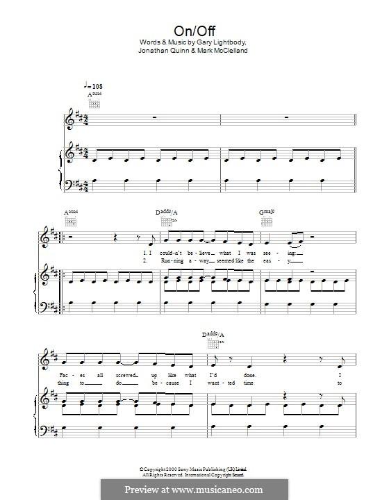 On Off (Snow Patrol): Для голоса и фортепиано (или гитары) by Gary Lightbody, Jonathan Quinn, Mark McClelland