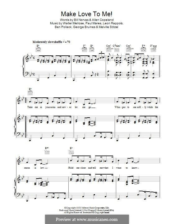 Make Love To Me (New Orleans Rhythm Kings): Для голоса и фортепиано (или гитары) by Mel Stitzel, Walter Melrose, Paul Mares, Leon Roppolo, Ben Pollack, George Bruines