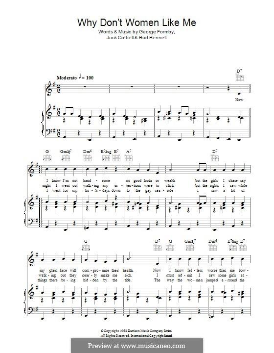 Why don't Women Like Me?: Для голоса и фортепиано (или гитары) by George Formby, Jack Cottrell, Bud Bennett