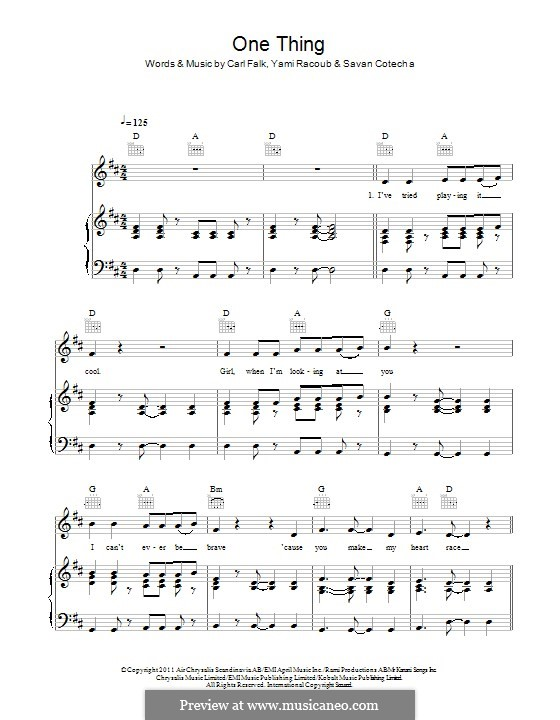 One Thing (One Direction): Для голоса и фортепиано (или гитары) by Carl Falk, Rami Yacoub, Savan Kotecha
