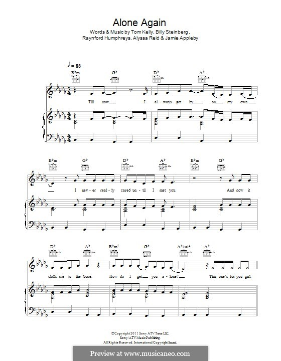 Alone Again: Для голоса и фортепиано (или гитары) by Billy Steinberg, Tom Kelly, Alyssa Reid, Jamie Appleby, Raynford Humphreys
