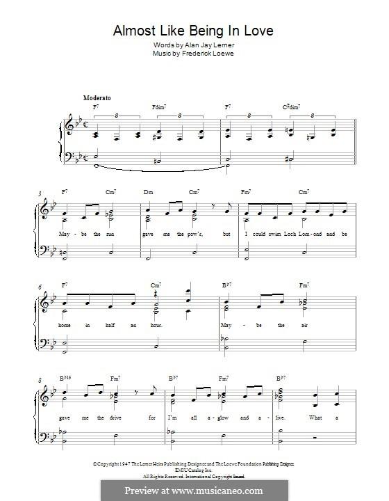 Almost Like Being in Love: Для фортепиано by Frederick Loewe