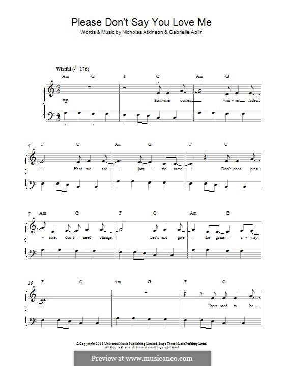 Please Don't Say You Love Me: Для фортепиано by Nicholas Atkinson, Gabrielle Aplin