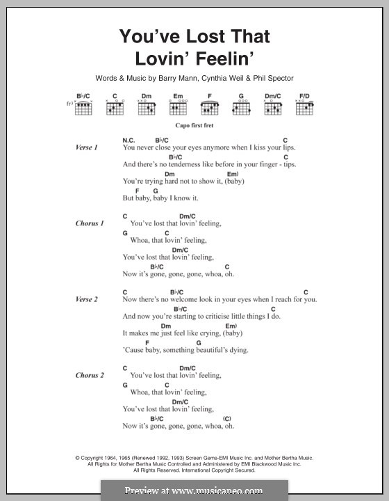You've Lost That Lovin' Feelin': Lyrics and chords (The Righteous Brothers) by Barry Mann, Cynthia Weil