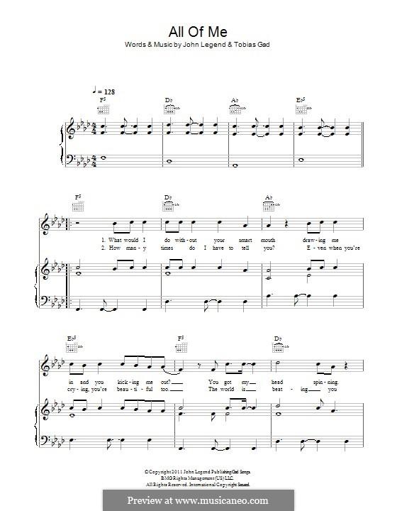 All of Me: Для голоса и фортепиано (или гитары) by John Stephens, Tobias Gad