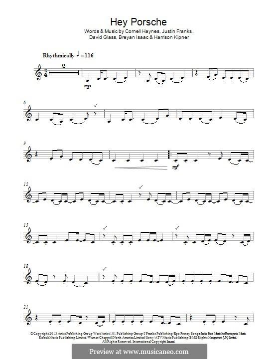Hey Porsche (Nelly): Для кларнета by Cornell Haynes, Justin Franks, Breyan Isaac, David Glass, Harrison Kipner