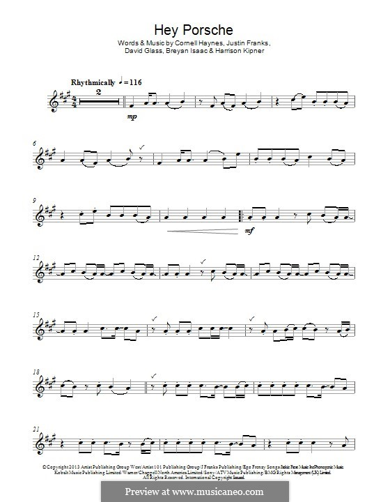 Hey Porsche (Nelly): Для флейты by Cornell Haynes, Justin Franks, Breyan Isaac, David Glass, Harrison Kipner