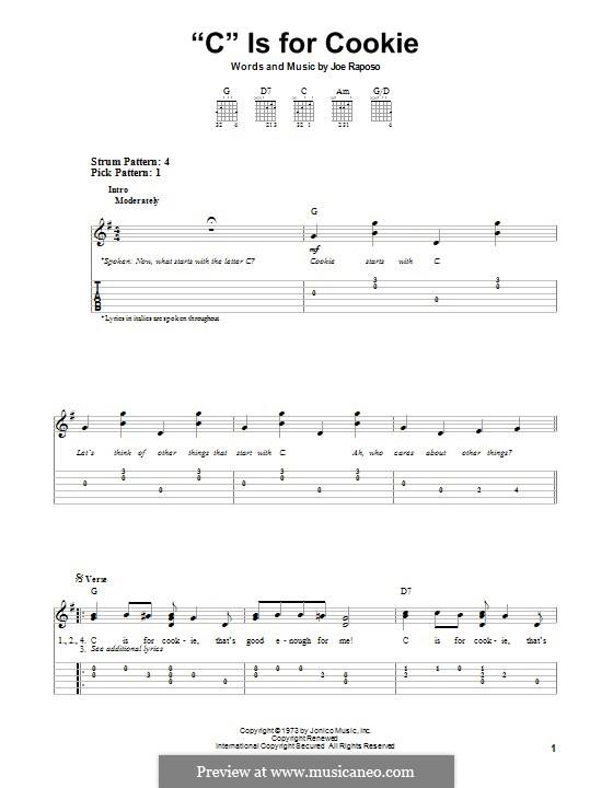 C is for Cookie (The Cookie Monster): Для гитары с табулатурой by Joe Raposo
