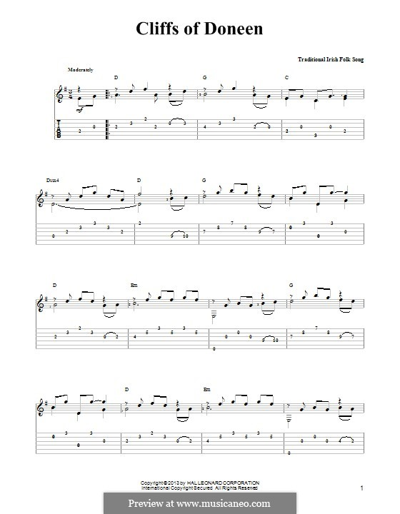 Cliffs of Doneen: Для гитары с табулатурой by folklore